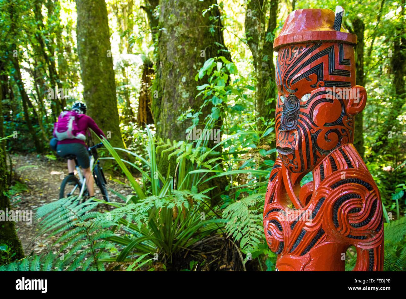 Ciclista de montaña y talla maorí en el inicio del sendero de madera en el Parque Forestal de Pureora Imagen De Stock