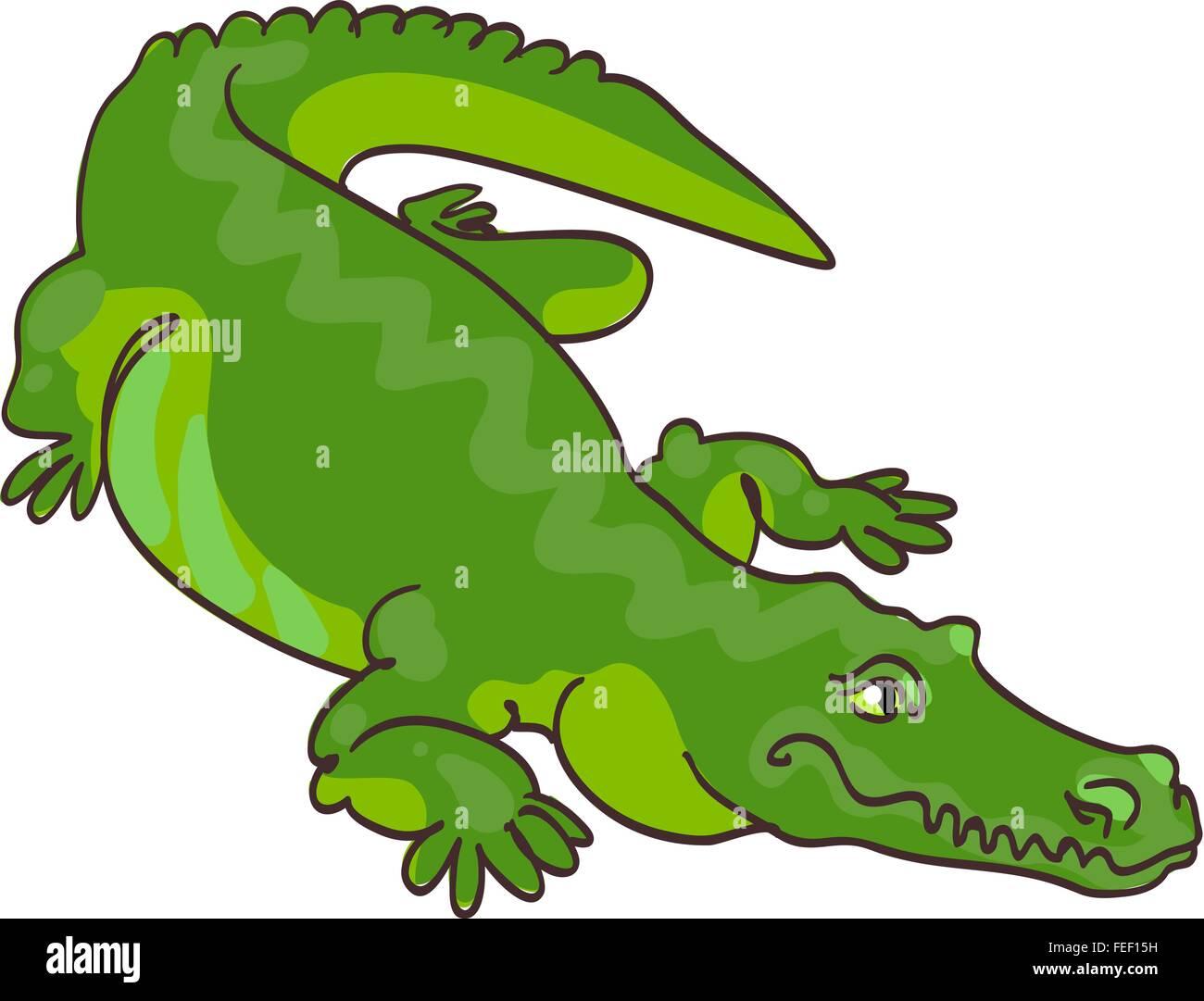 Cocodrilo Verde En El Estilo De Dibujos Animados