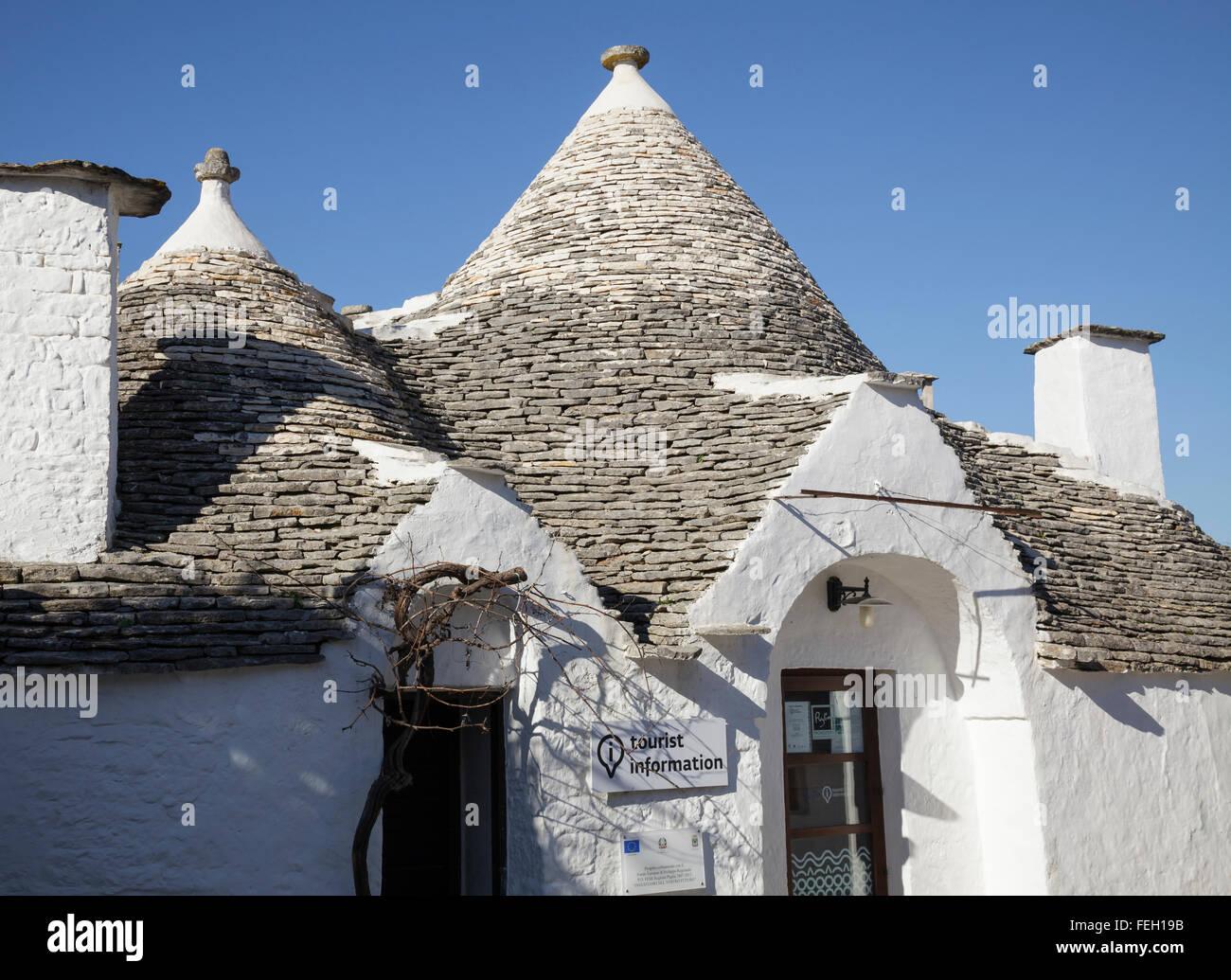 Información turística trullo, Alberobello, Puglia, Italia Imagen De Stock