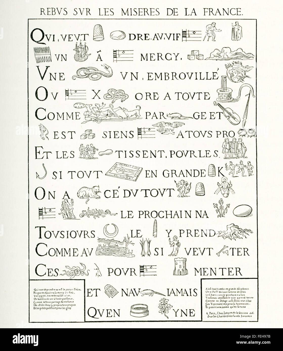 Este francés allusional rebus (dispositivo que utiliza imágenes para representar palabras o partes de palabras) Foto de stock