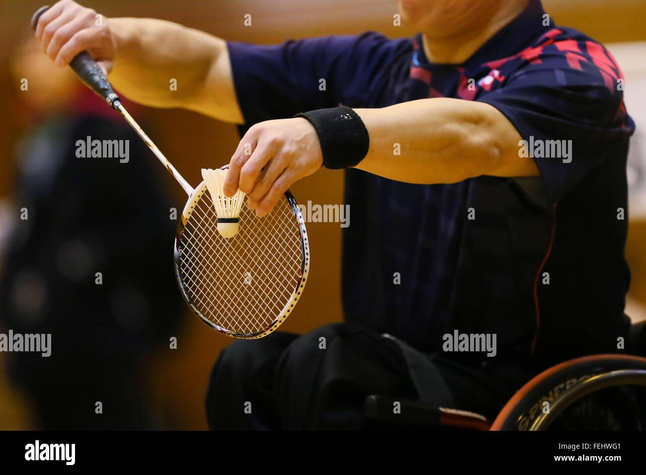 Kurume, gimnasio occidental de la ciudad de Fukuoka, Japón. 6 Feb, 2016. Detalle shot, Febrero 6, 2016 - Badminton Imagen De Stock