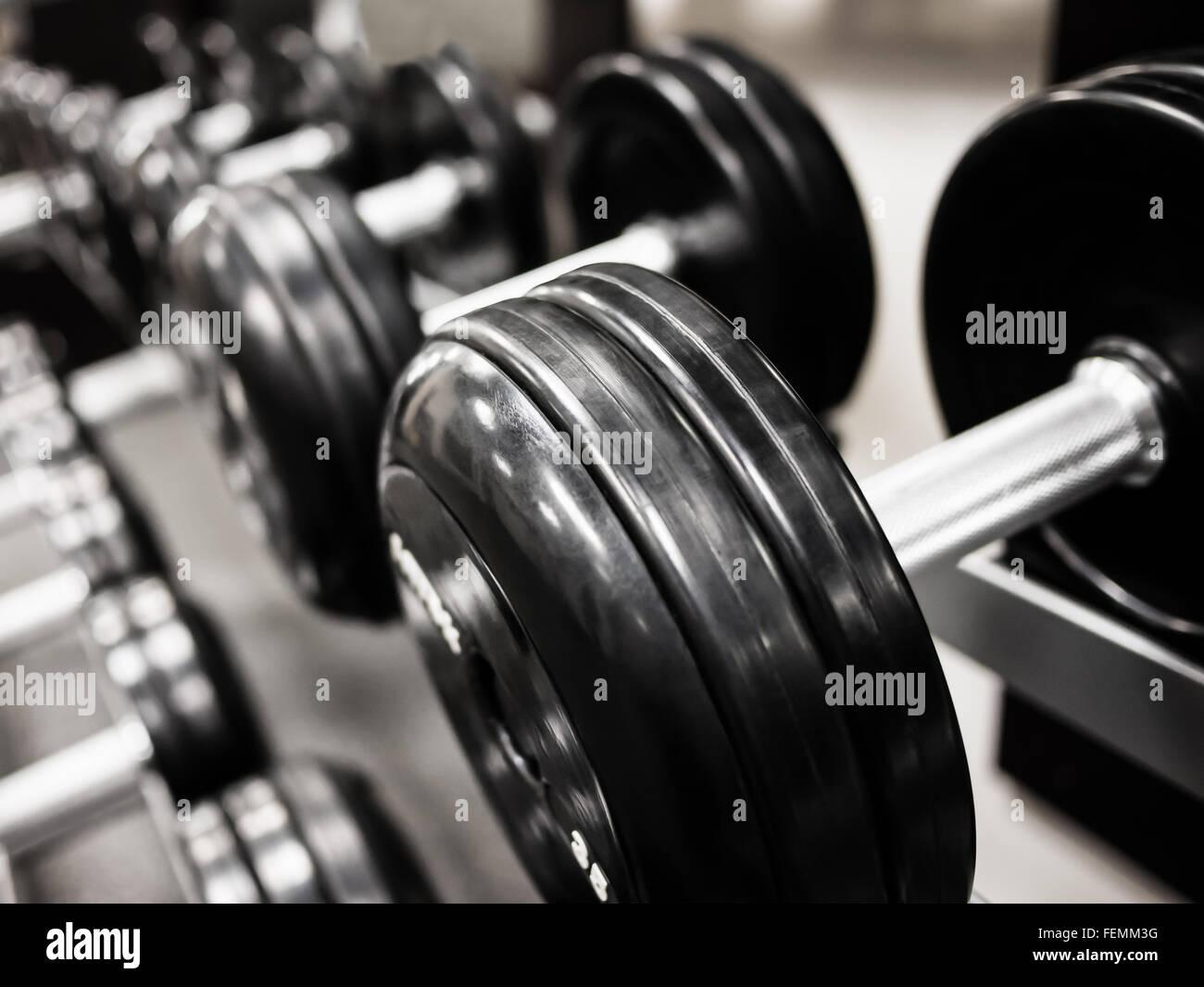 Contrapesos pesa sobre un estante en un health club gimnasio Foto de stock