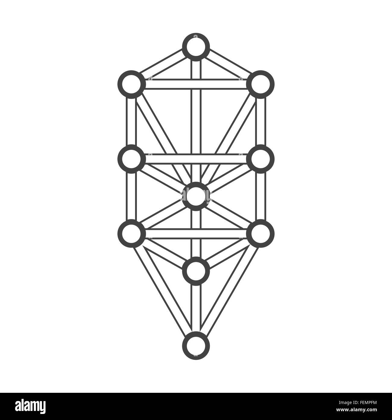 Contorno Negro Vectorial Ilustración Del árbol De La Vida Cábala