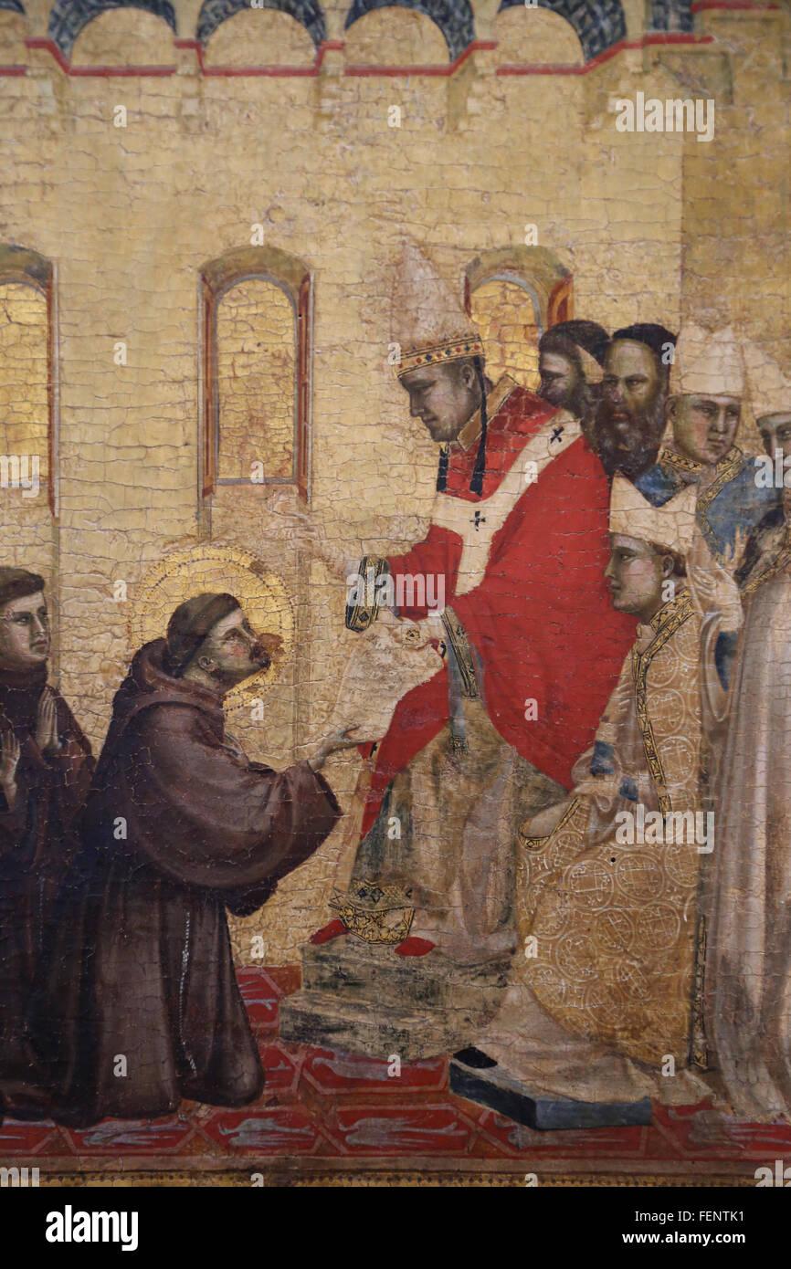 San Francisco recibiendo los estigmas, por Giotto (1266-1337), 1295-1300. Detalle predella. El Papa Inocencio III Imagen De Stock