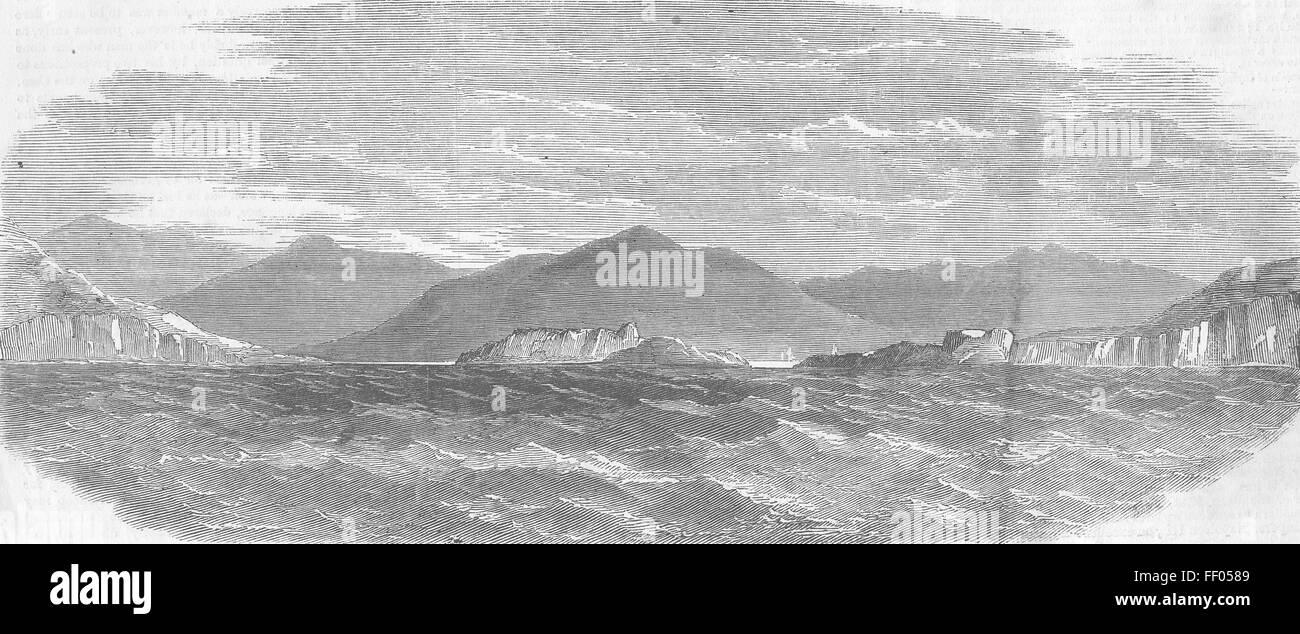 Irlanda cable telegráfico trasatlántico Valentia 1858. Illustrated London News Foto de stock