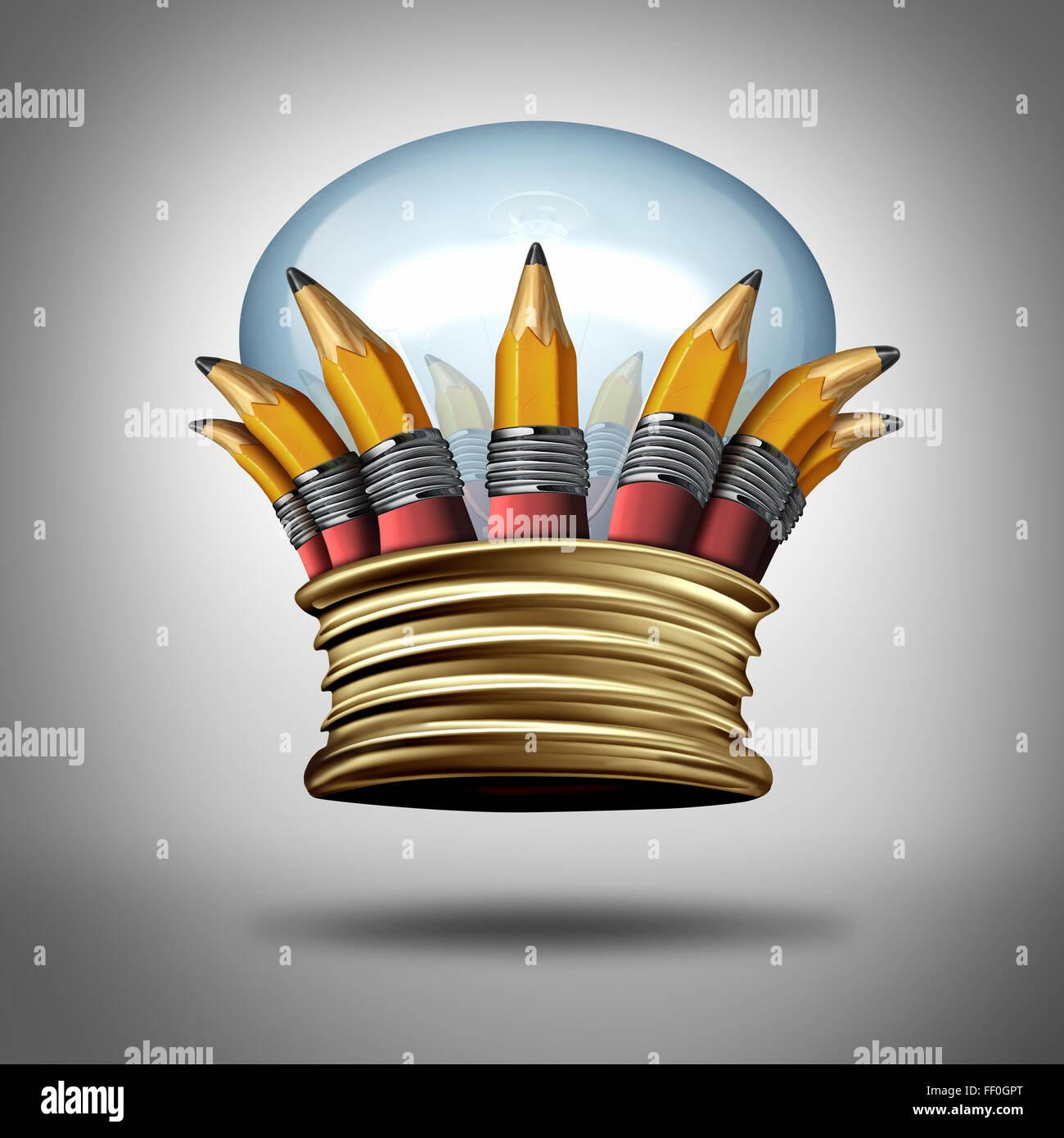 La innovación y las ideas de la corona de rey como un grupo de lápices y una bombilla o lámpara de Imagen De Stock
