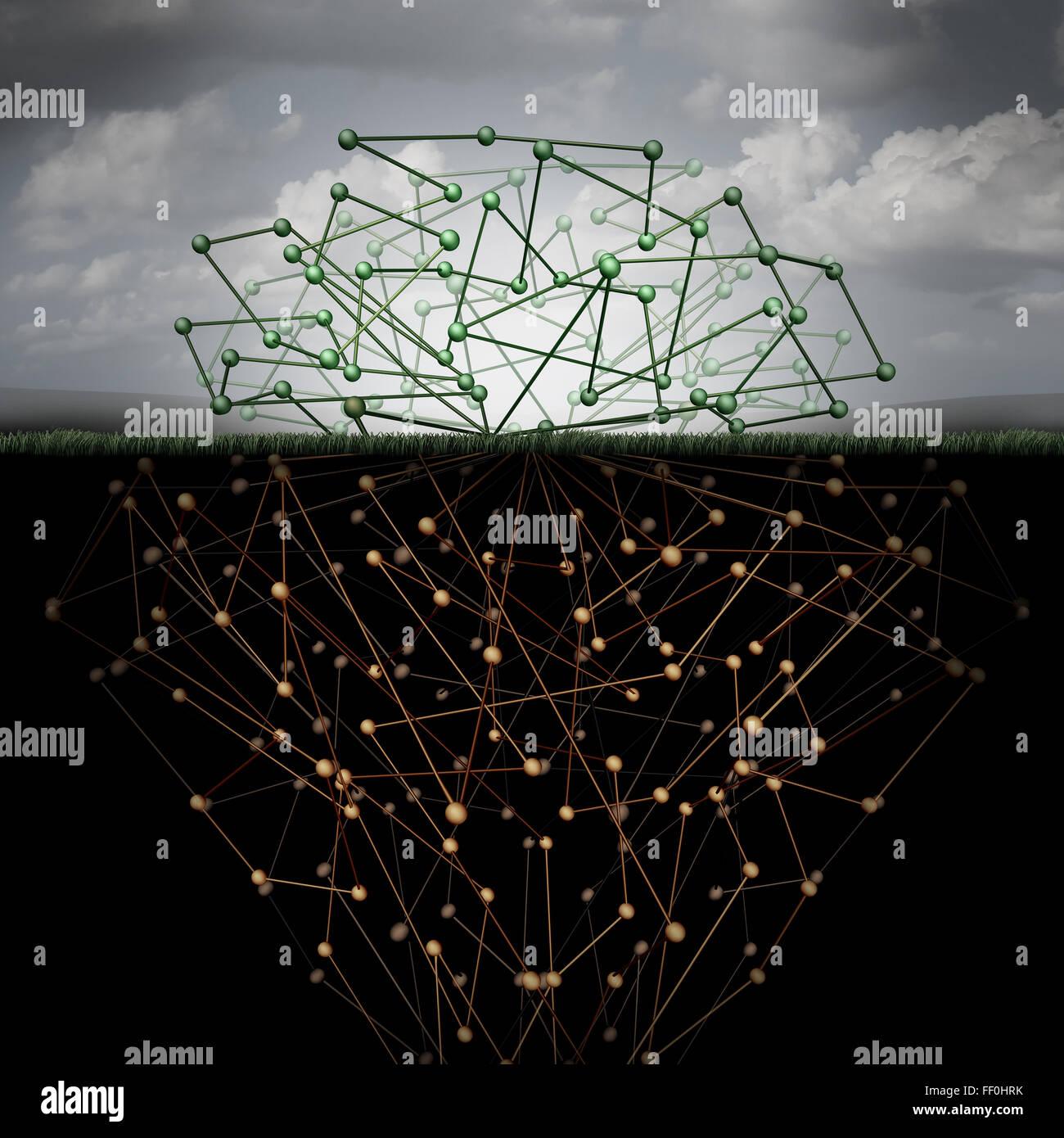 Web oscuro y oculto, la tecnología de la internet como una web escondida en el ciberespacio metro enterrado Imagen De Stock