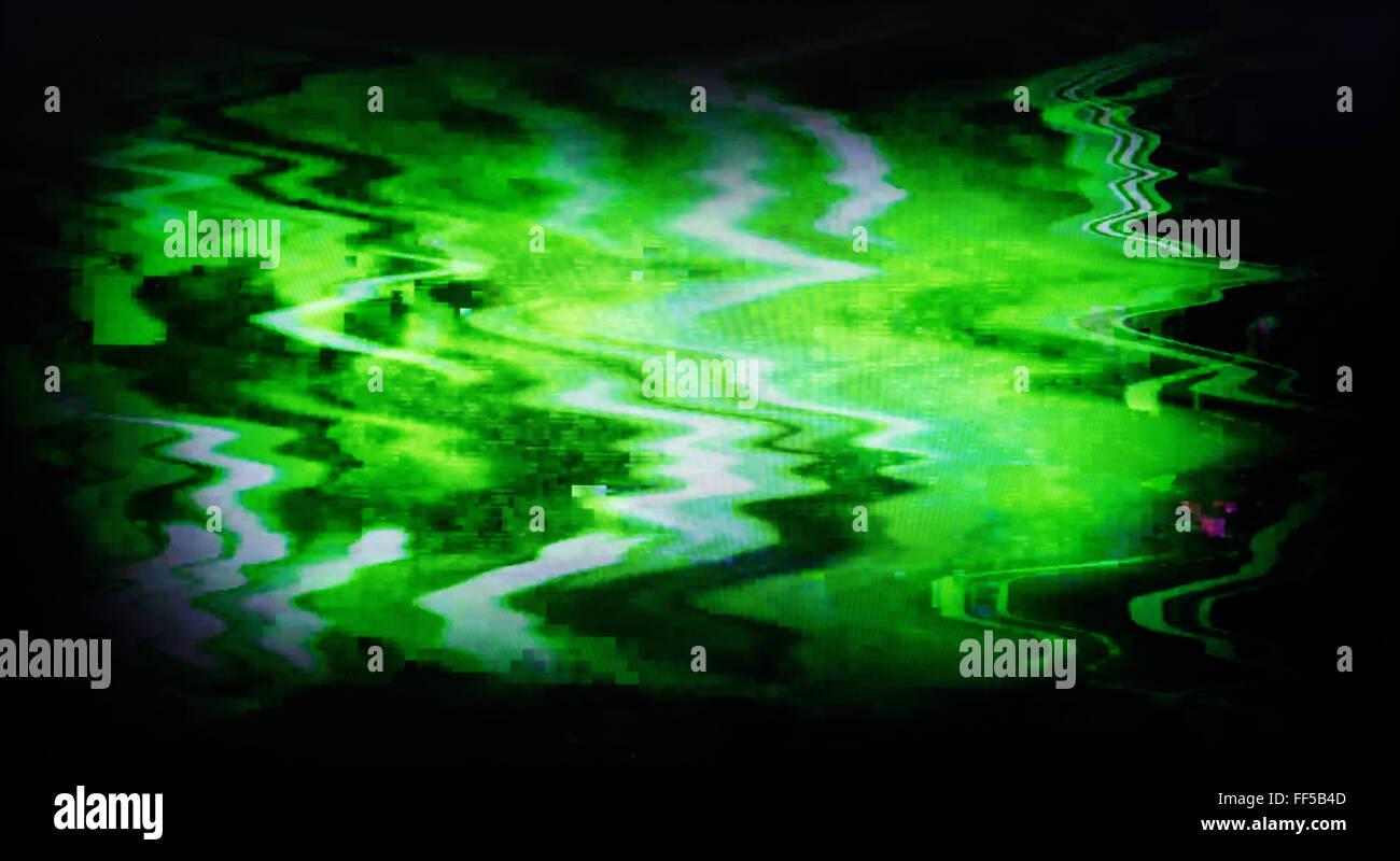 Pantalla verde TV entrelazada de ruido de estática, Vignette abstracción telón de fondo Imagen De Stock