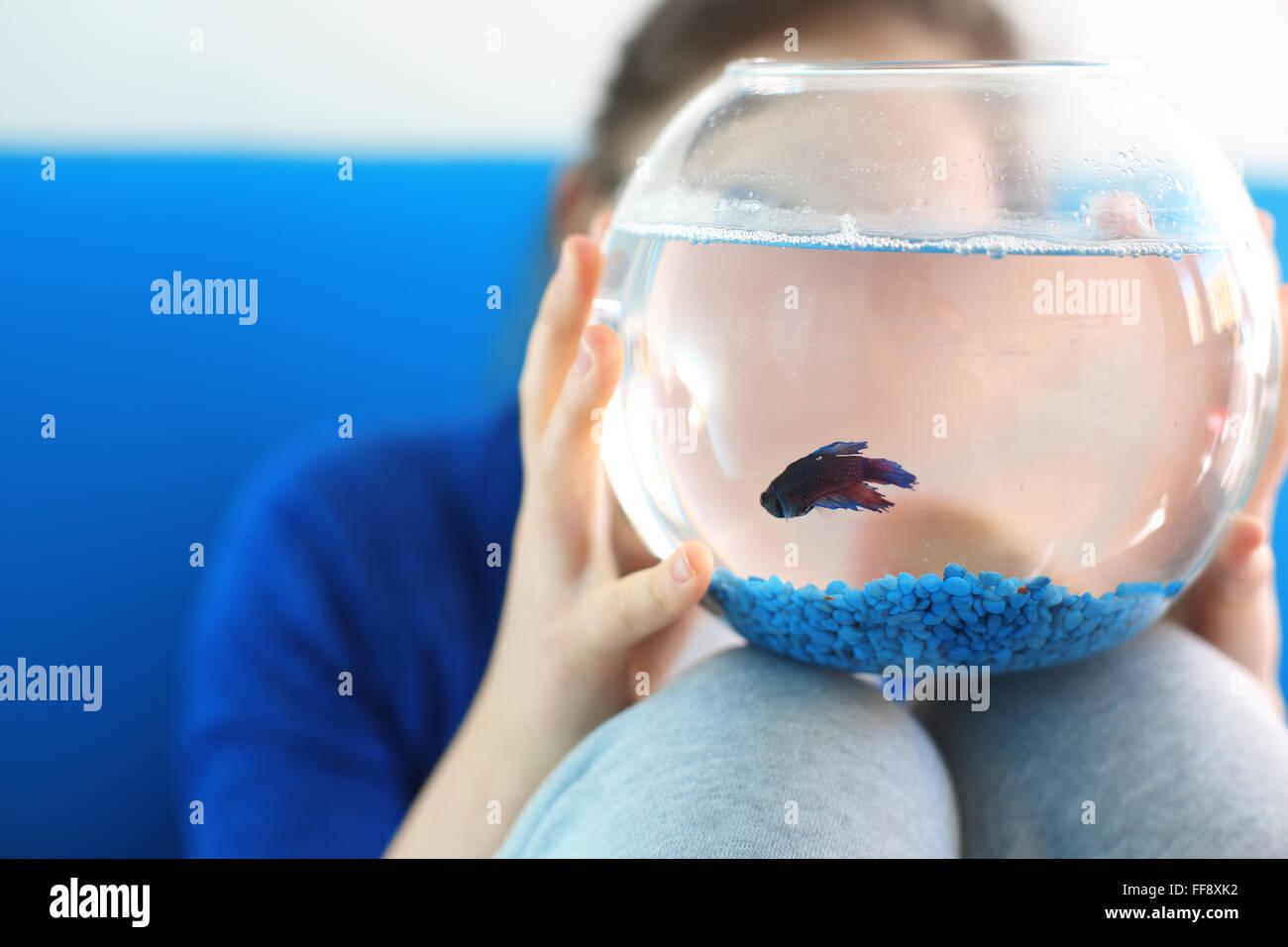 Quiero mascota ... . Niño sosteniendo una bola de cristal con un pescado azul Imagen De Stock
