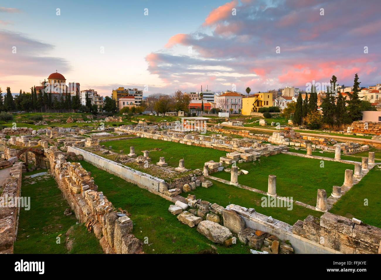 Sitio arqueológico de Kerameikos cerca del Ágora ateniense. Foto de stock