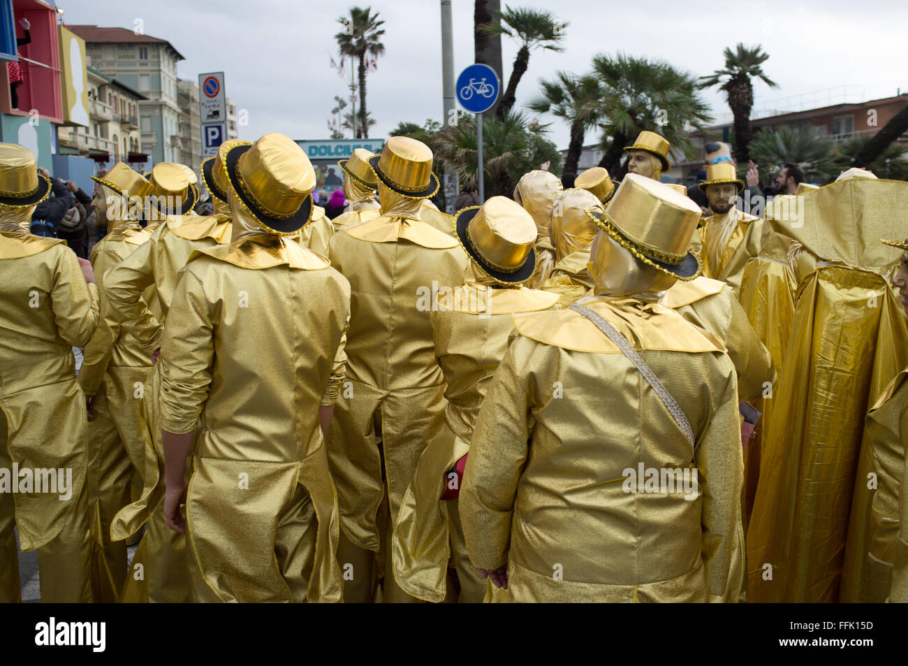 Viareggio, Italia. El 14 de febrero, 2016. retrato de la máscara de carnaval du4ing el 3 desfiles de carnaval Imagen De Stock