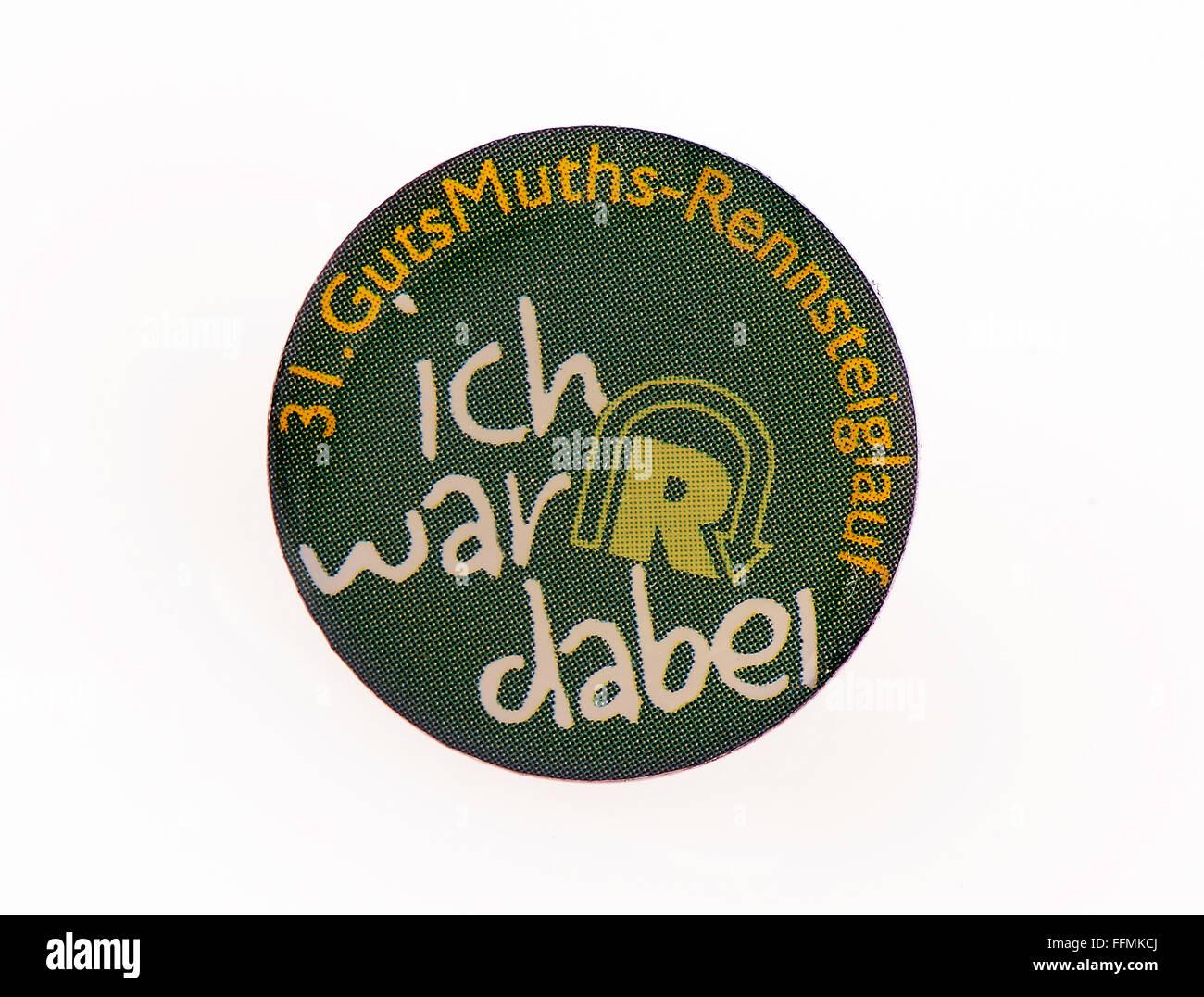 Deportes, running, insignia con ocasión del 31º Rennsteiglauf, 'Ich war dabei' (he participado), Imagen De Stock