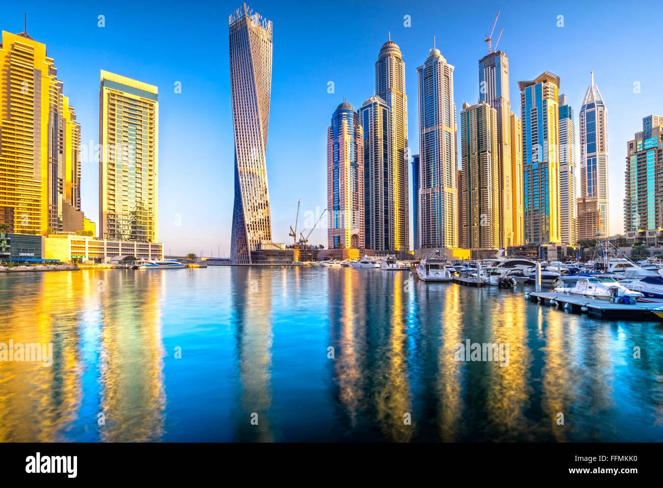 Rascacielos de Dubai Marina. Eau Foto de stock