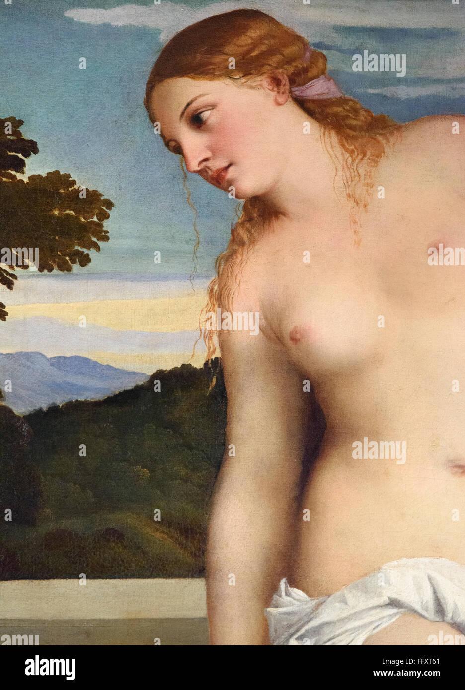 Roma. Italia. Amor sagrado y profano, detalle de Afrodita, (c. 1514), por Tiziano (c. 1488/1490 - 1576), la Galleria Imagen De Stock
