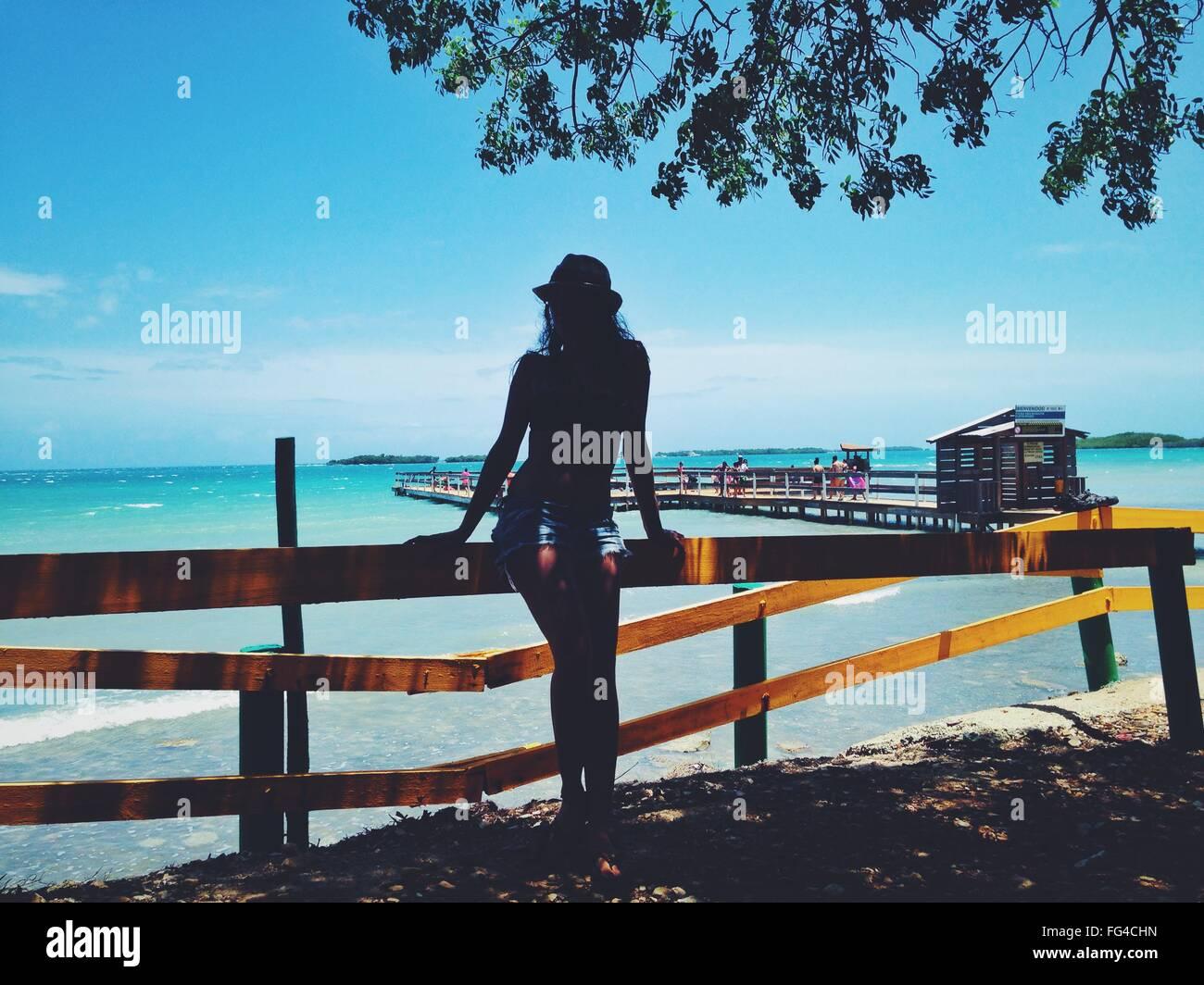 La longitud completa de la Mujer de pie por clamar contra el cielo en la playa Imagen De Stock