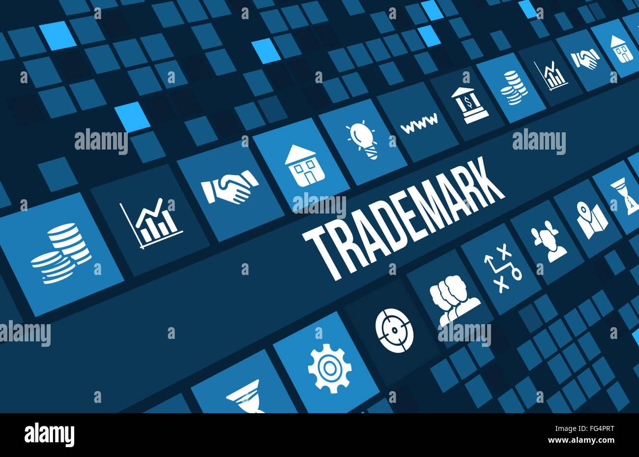 Imagen de Marca Concepto empresarial con iconos y copyspace. Foto de stock