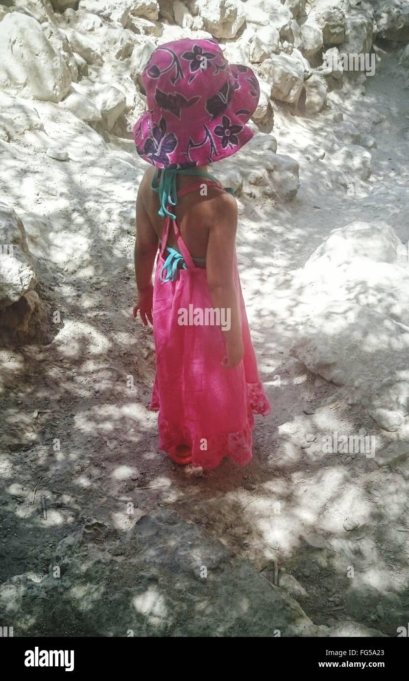 Un alto ángulo de vista de chica que llevaba vestido sin mangas y sombrero de pie en el campo de Rocas Imagen De Stock