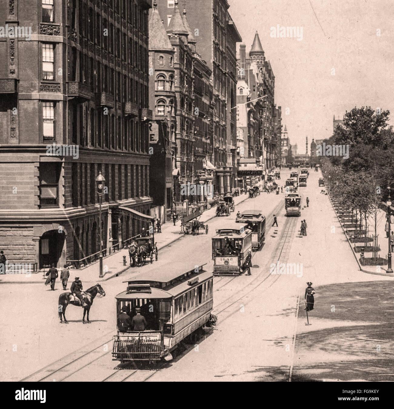 Calles de Nueva York a finales del siglo XIX Imagen De Stock