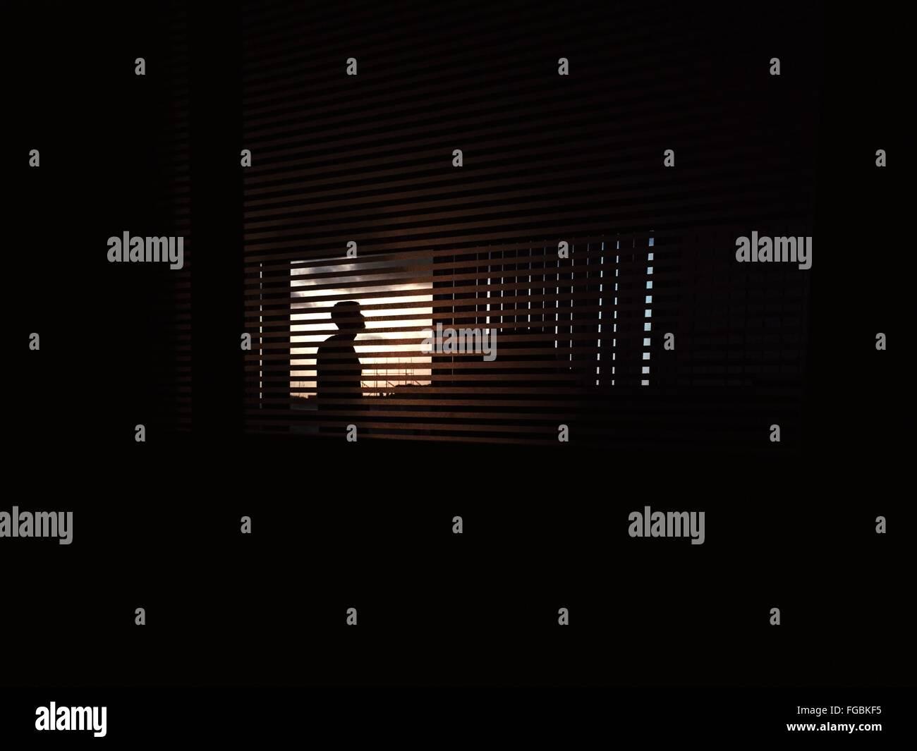 Silueta Hombre visto a través de las persianas de la ventana Imagen De Stock