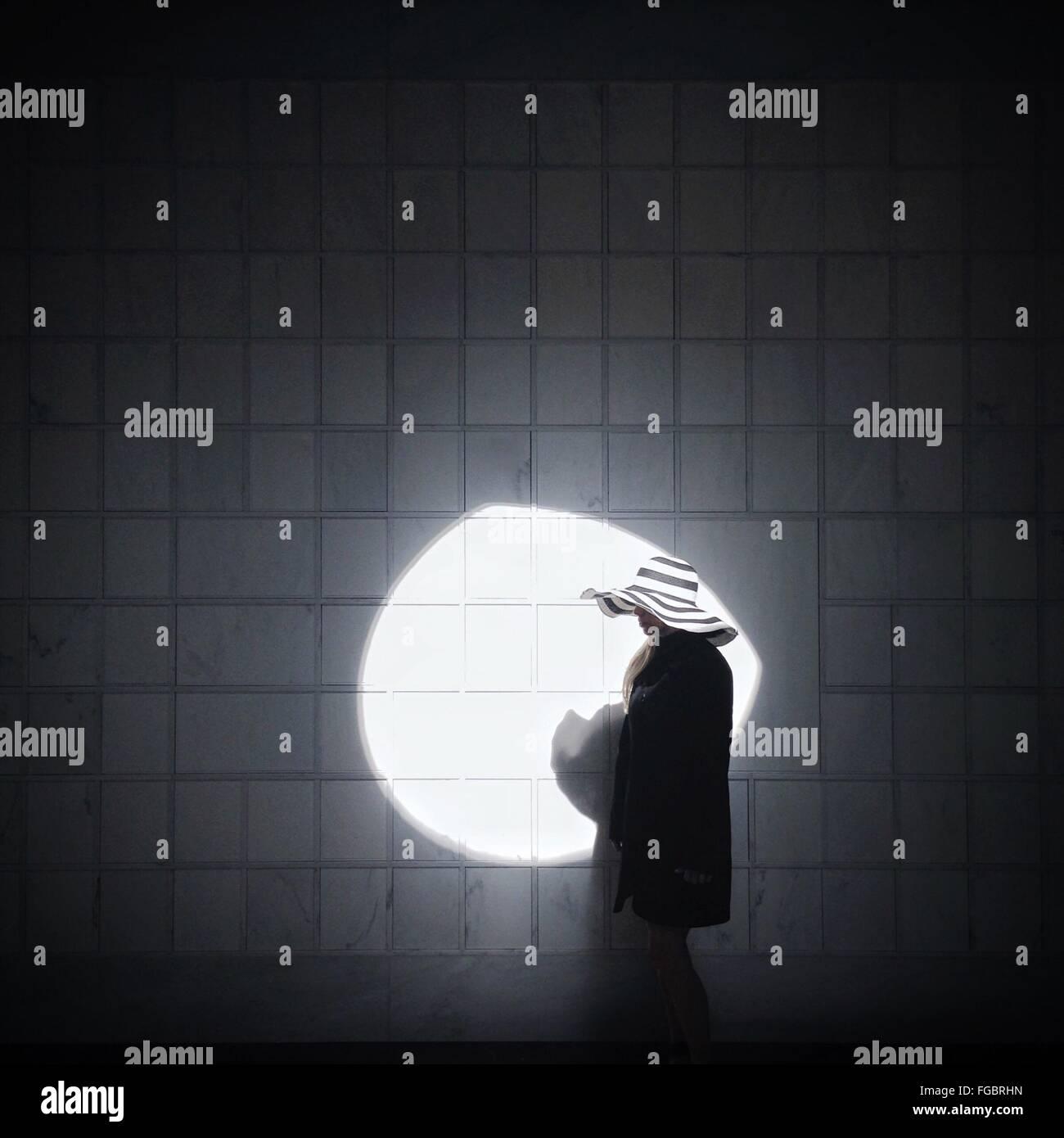 Mujer vistiendo sombrero contra la luz solar en la pared de mosaico Foto de stock