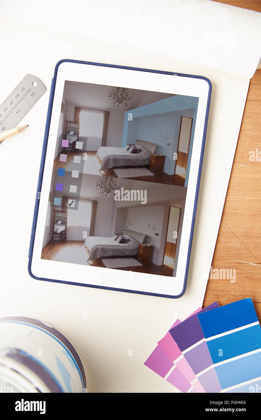Aplicación de diseño de interiores en tableta digital Imagen De Stock