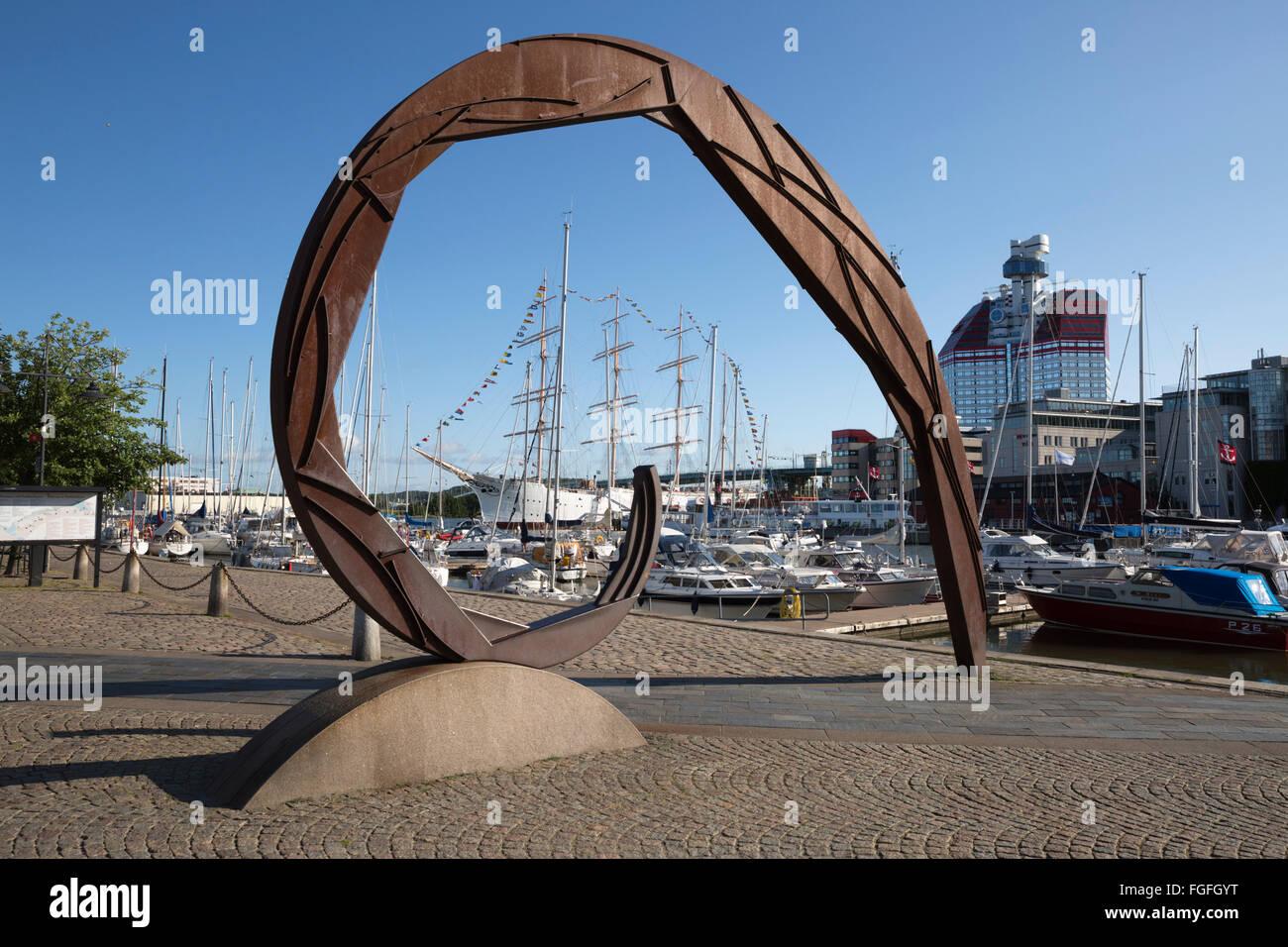 Lilla Bommen Göteborgs-Utkiken Harbour y el edificio (el pintalabios), Gotemburgo, West Gothland, Suecia, Escandinavia, Europa Foto de stock