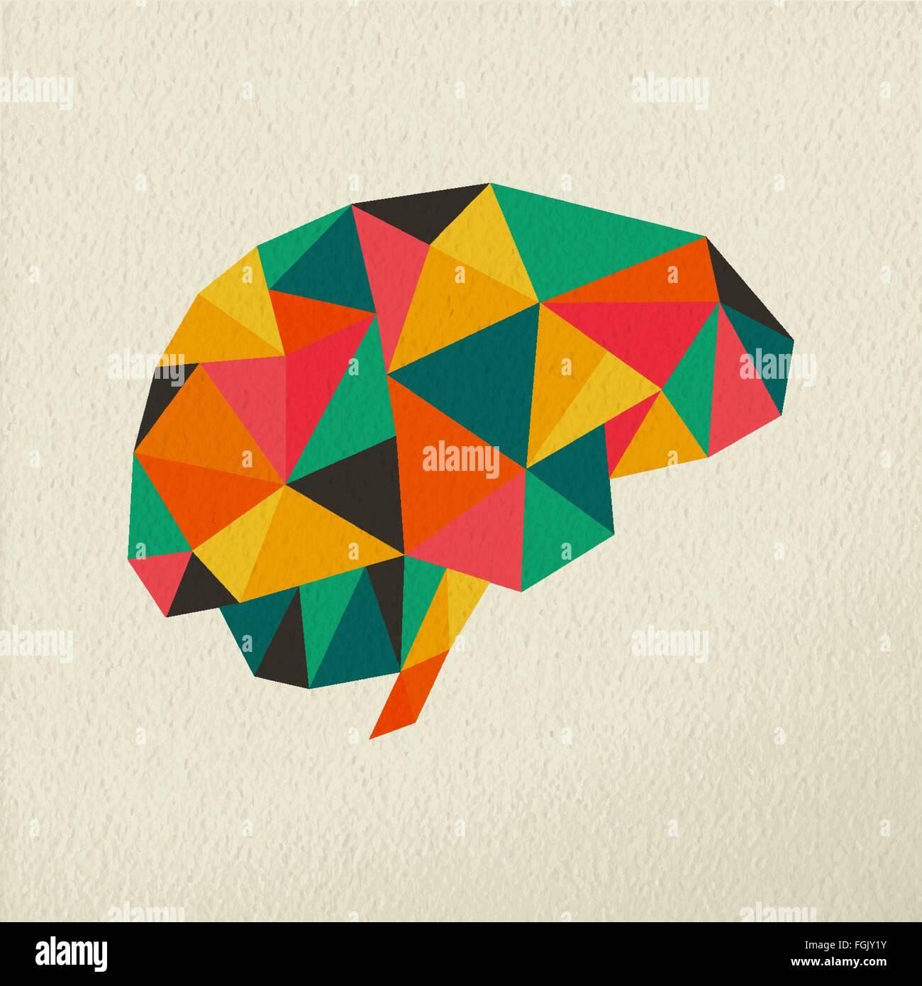 Cerebro Humano, colorido baja poli ilustración del concepto en la textura del papel de fondo. Vector EPS10. Imagen De Stock