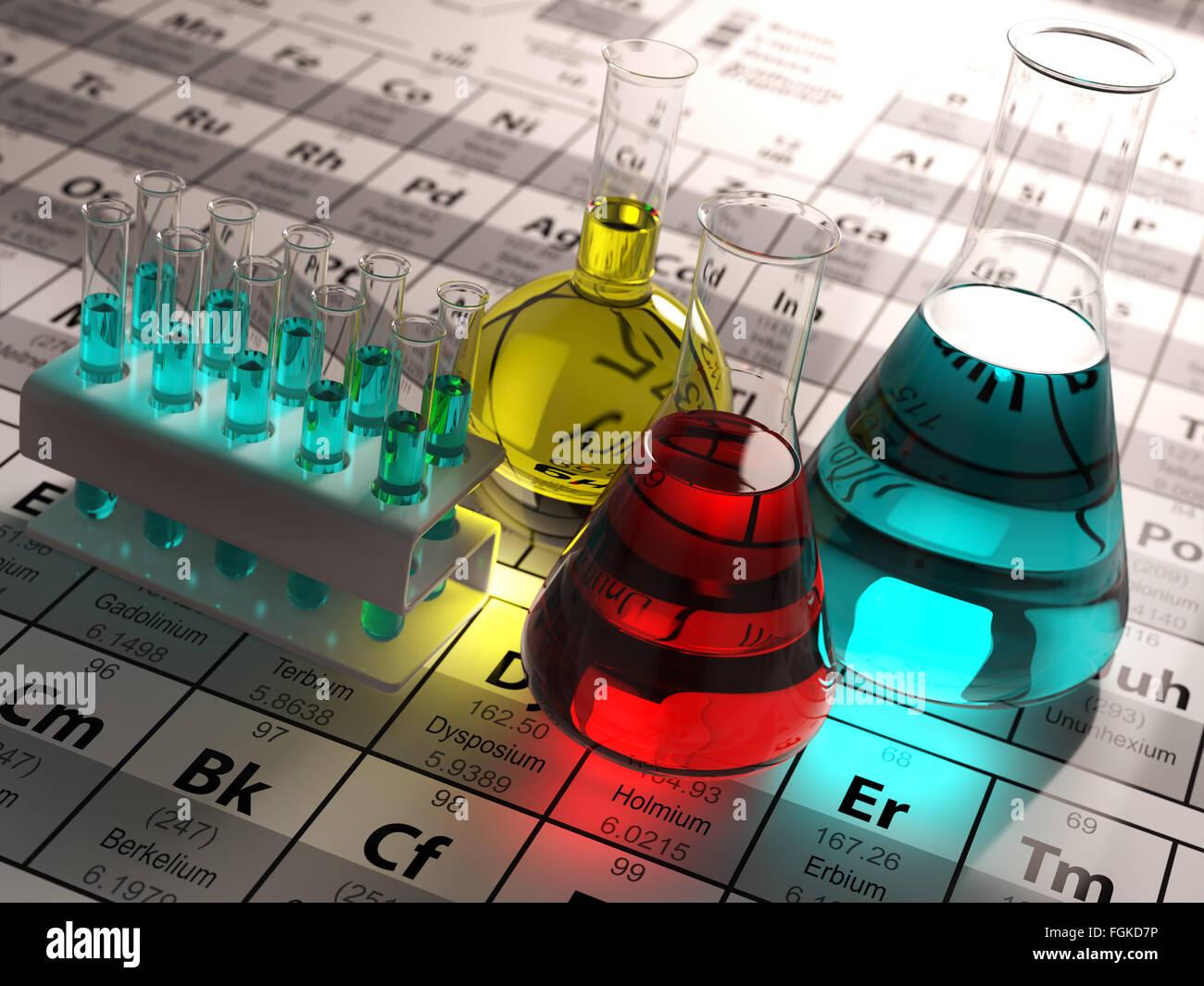 Tubos de ensayo y matraces de laboratorio con lquidos de colores en tubos de ensayo y matraces de laboratorio con lquidos de colores en la tabla peridica de elementos la ciencia qumica concepto 3d urtaz Gallery