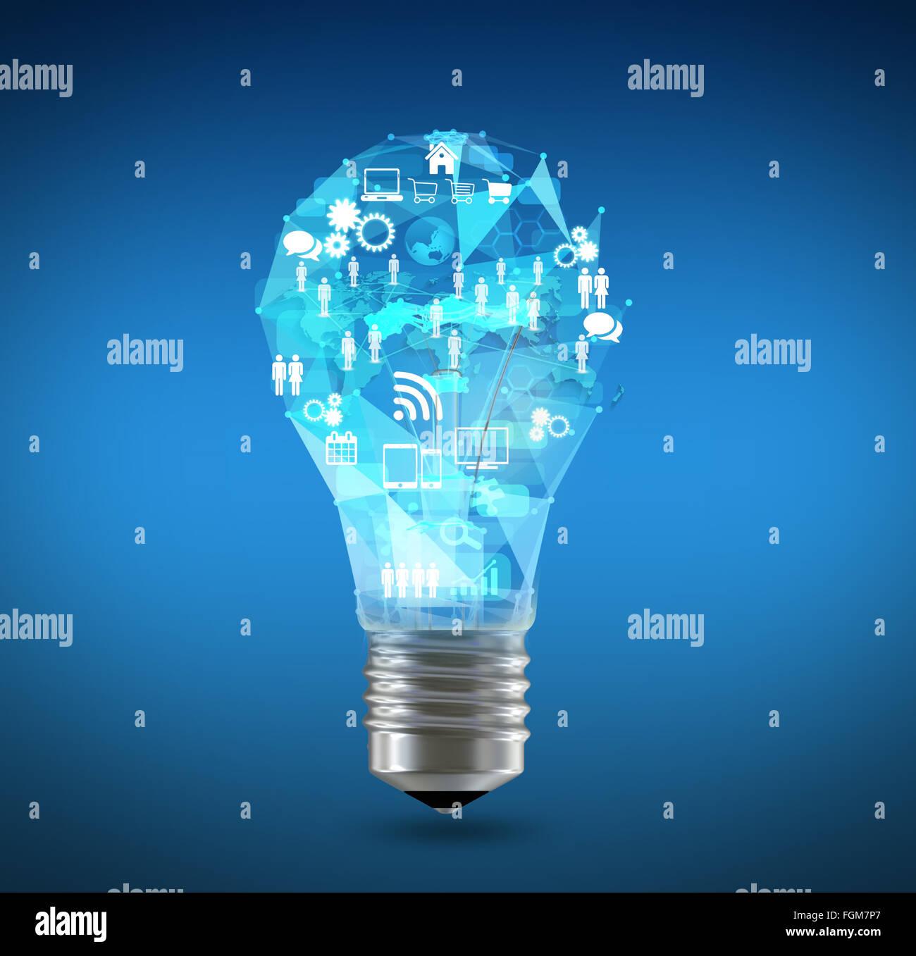 Iconos de la lámpara y el mapa del mundo en la parte superior Imagen De Stock