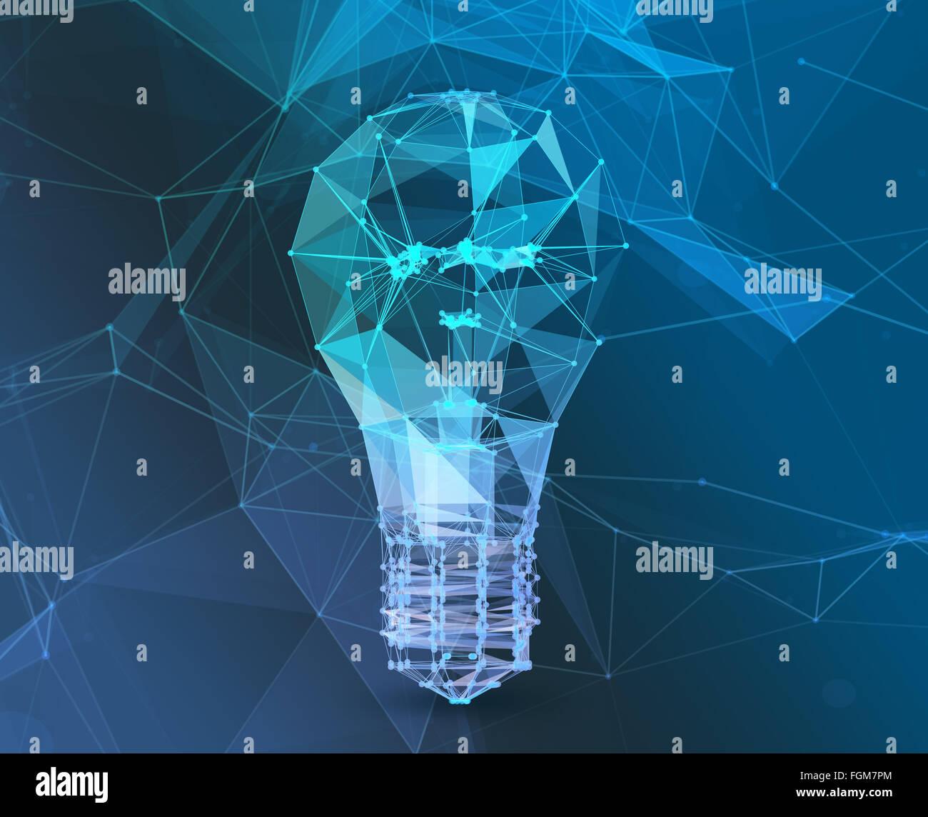 Conectar la lámpara triángulo poligonales. El concepto de comunicación en red Imagen De Stock