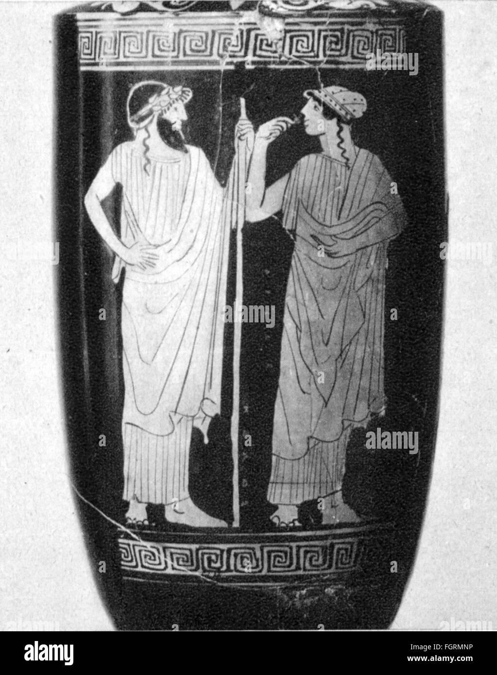 La moda, el mundo antiguo, Grecia, ropa de hombre y de mujer, vase la pintura, Museo de Historia del Arte, Viena, Imagen De Stock