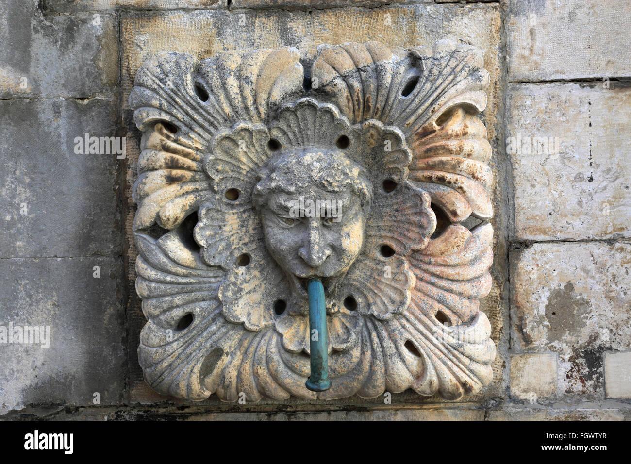 La gran Onofrios Fountain, Main Street, Dubrovnik, del condado de Dubrovnik-Neretva, la costa dálmata, Mar Adriático, Croacia, Balcanes Foto de stock