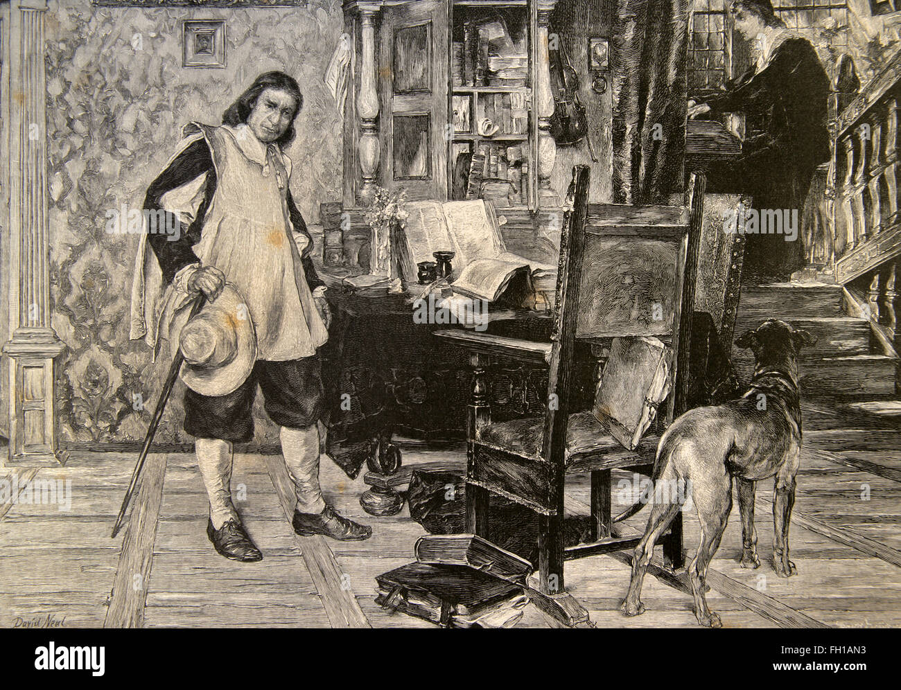 Oliver Cromwell (1599-1658). English líder político y militar y, más tarde, Lord Protector de la mancomunidad de Foto de stock