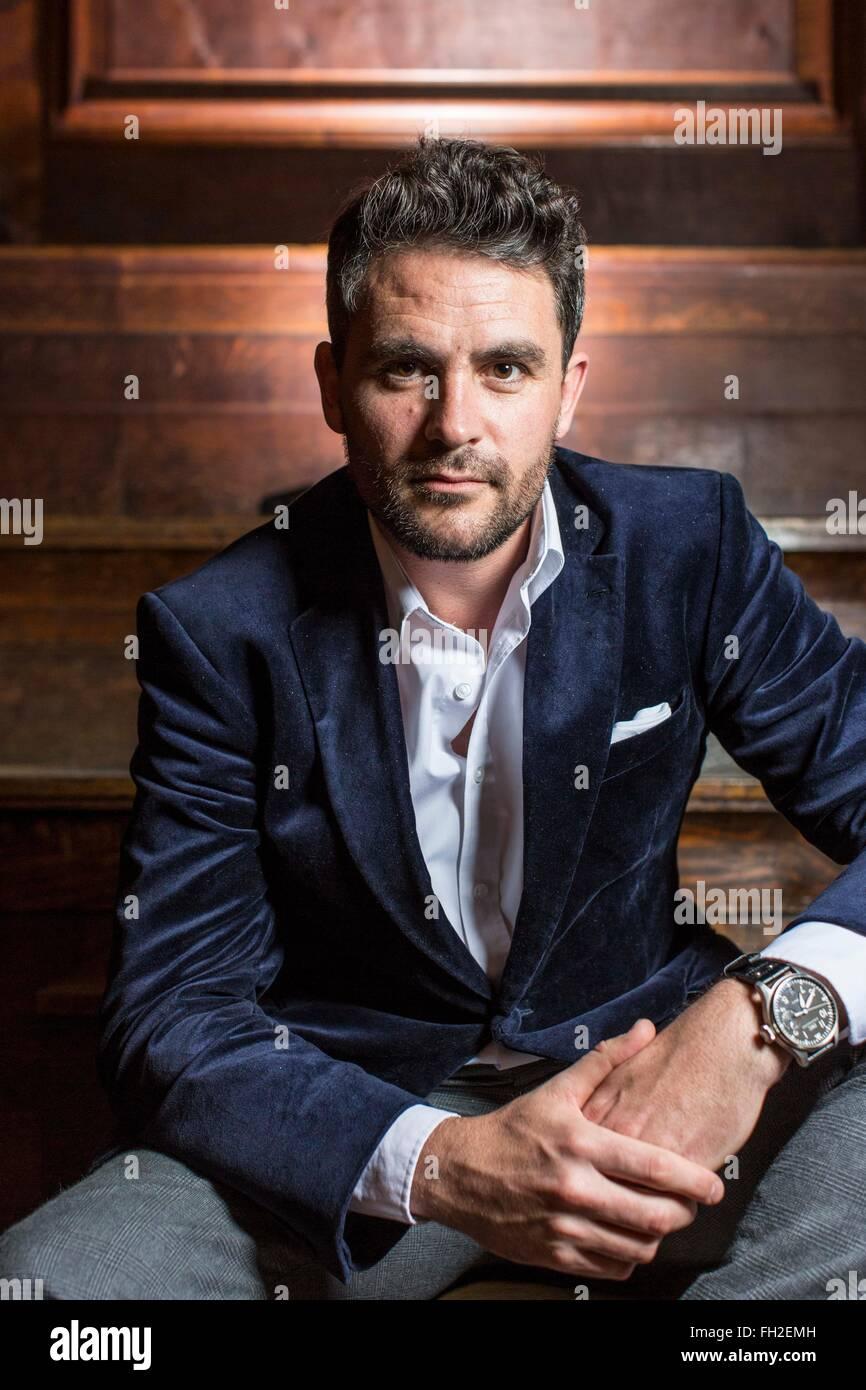 Retrato de explorer y presentador de televisión Levison Madera Imagen De Stock