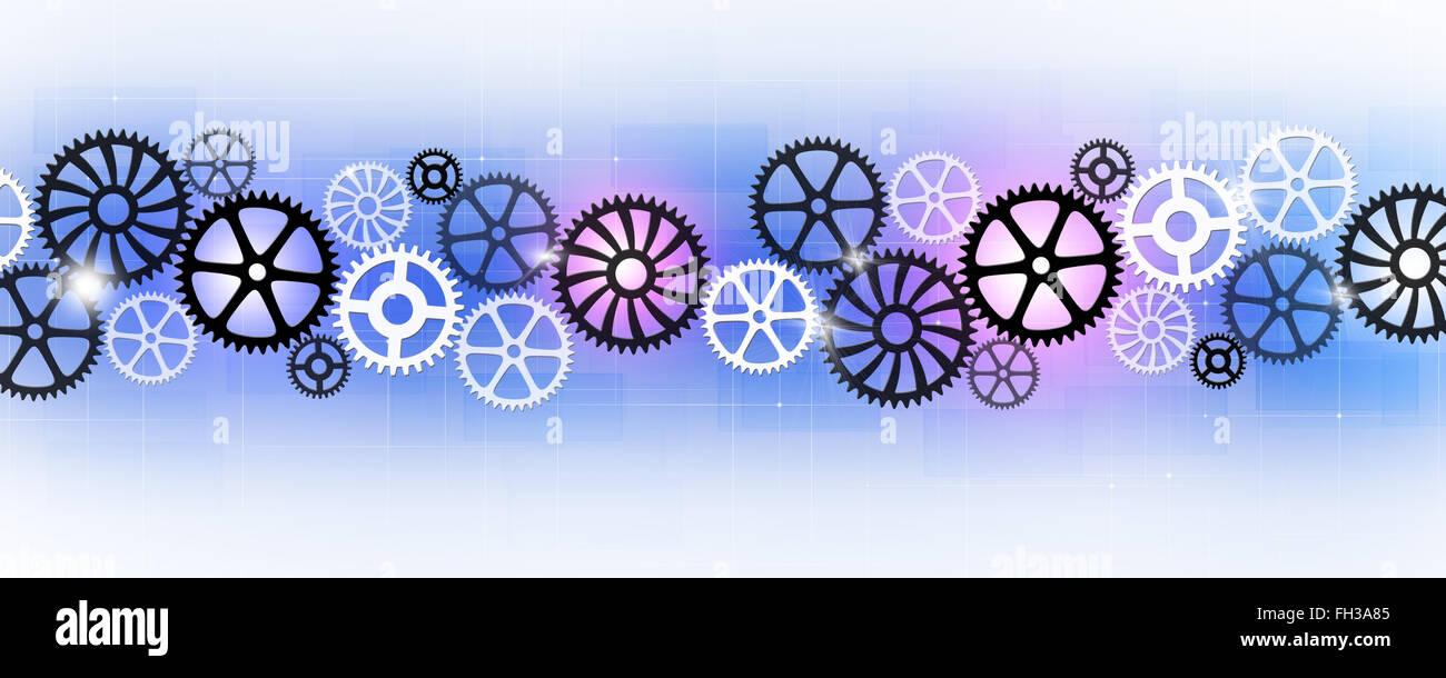Resumen de Technology Business banner con engranajes de movimiento Imagen De Stock