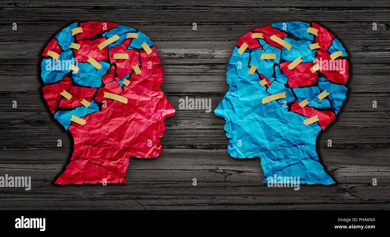 Pensar el intercambio y la idea de la asociación Business Communication concepto como rojo y azul de cabeza Imagen De Stock