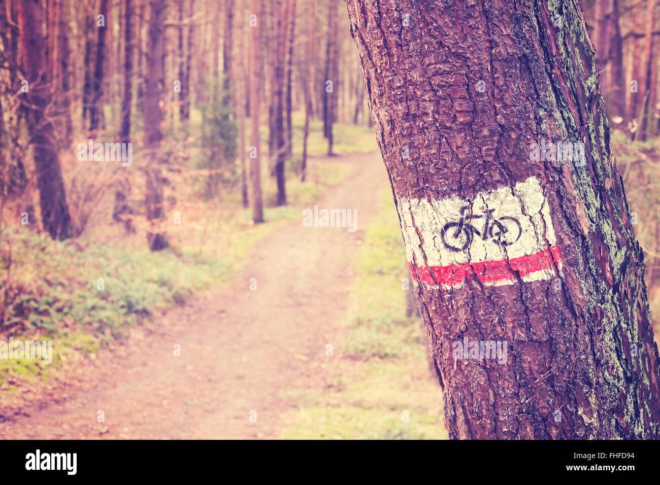 Tonos Vintage Bike Trail signo pintado sobre un árbol en el bosque. Foto de stock