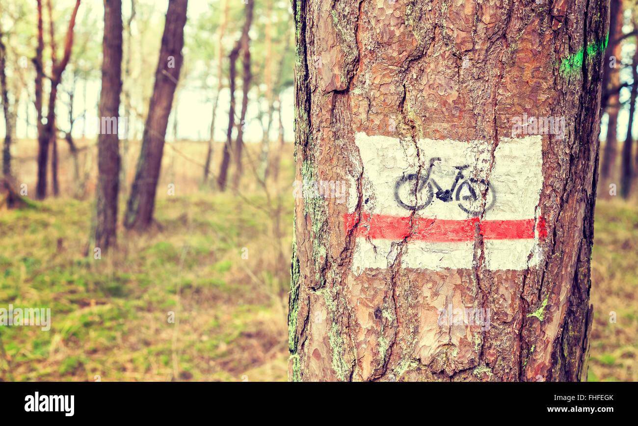 Tonos Retro Bike Trail signo pintado sobre un árbol en el bosque. Foto de stock