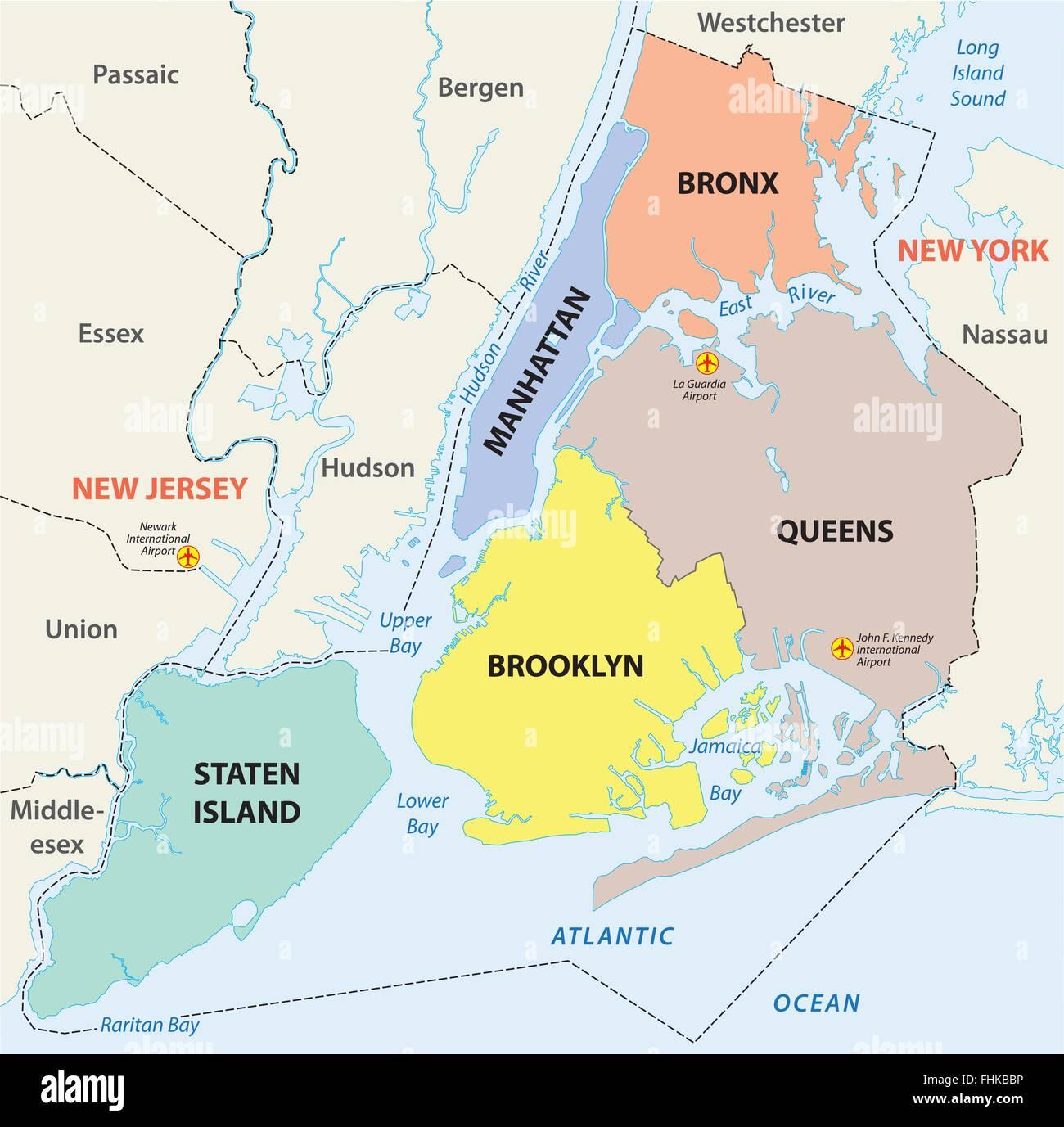 La ciudad de Nueva York, 5 distritos mapa Ilustración del Vector