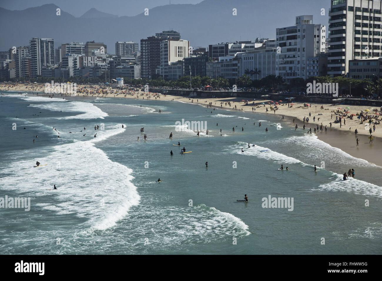 Playas de Ipanema y Leblon vista desde Arpoador rock - sur de la capital Imagen De Stock