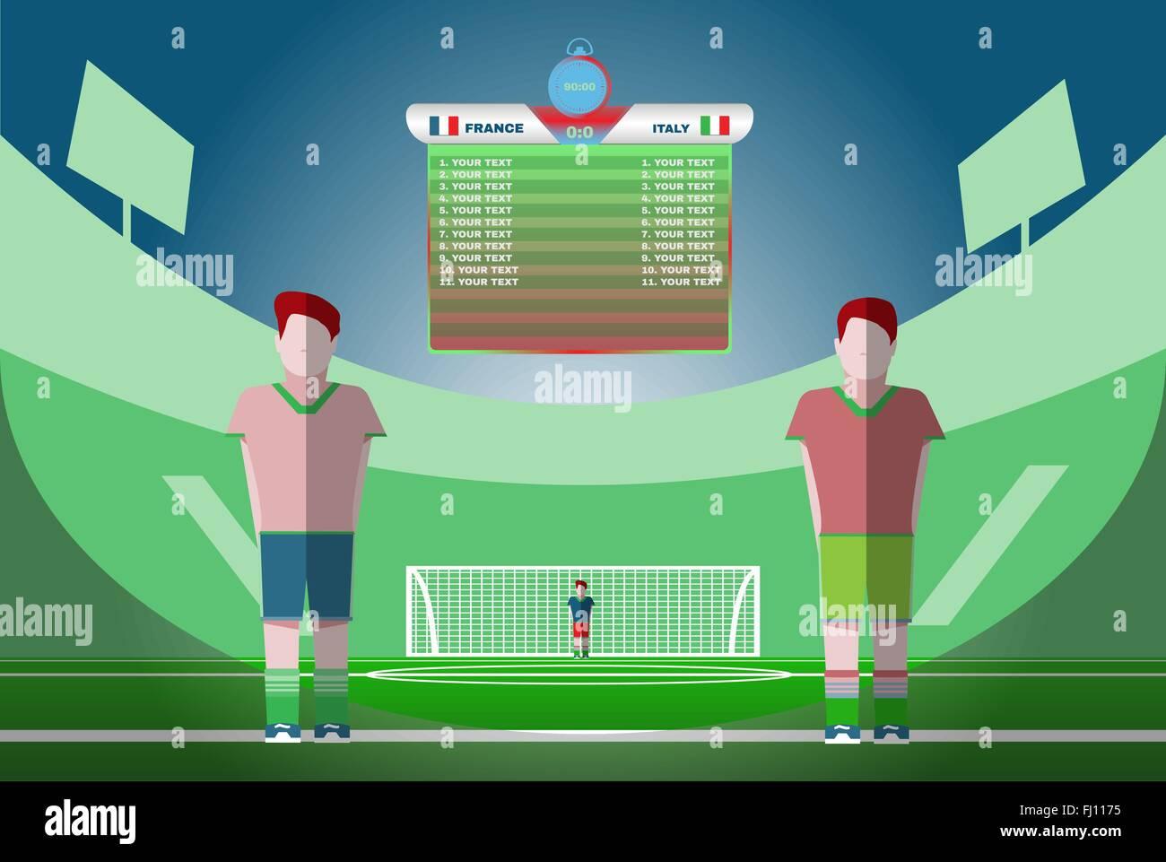 be09334f7dad5 Marcador con jugadores y coincidir con la puntuación y otros datos. Campo  de juego del estadio de fútbol como telón de fondo.