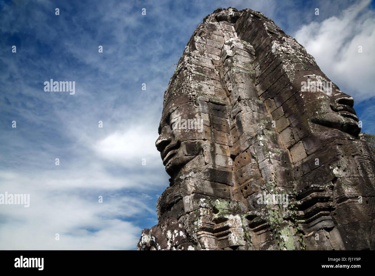 Rostros del Templo Bayon, Siem Reap, Cambodge Foto de stock