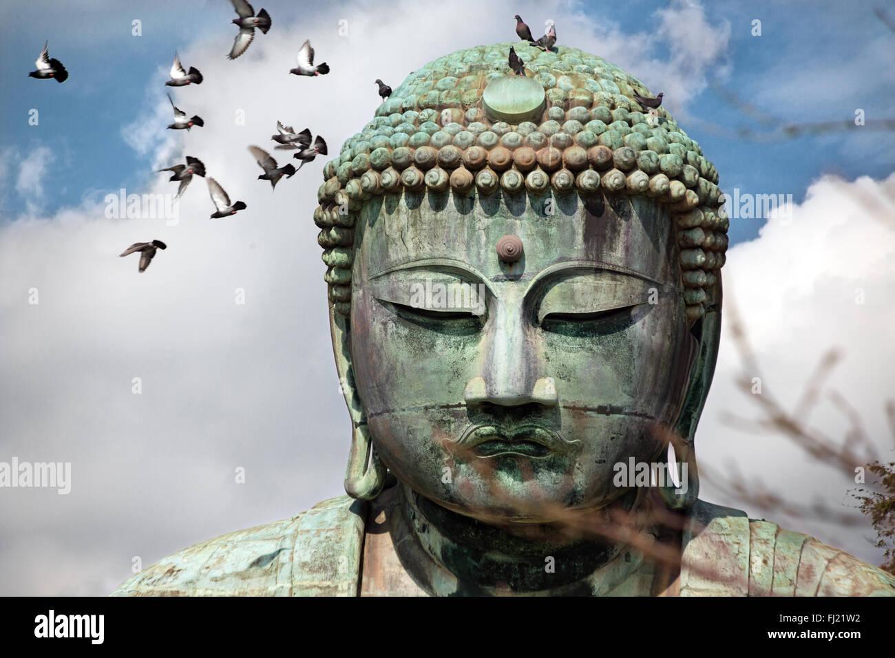 Daibutsu Kōtoku-en el Gran Buda de Kamakura en Japón Imagen De Stock