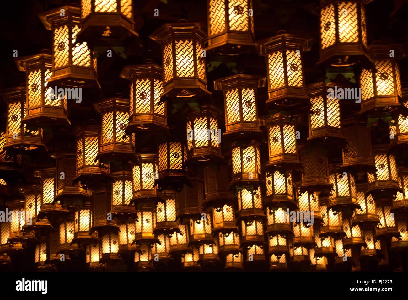 La decoración interior del templo Daiganji, Miyajima, Japón Imagen De Stock