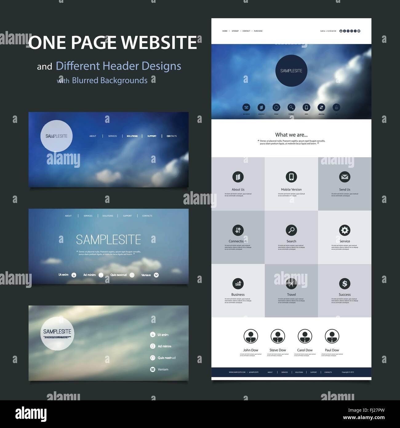 Una página Web sensible plantilla con diferentes diseños de ...