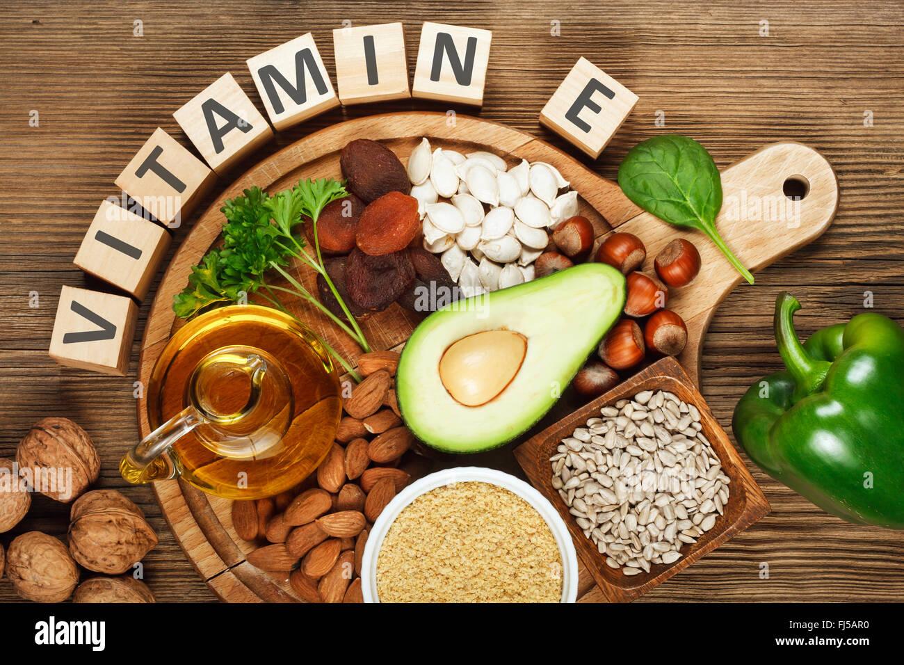 Alimentos ricos en vitamina E Foto de stock