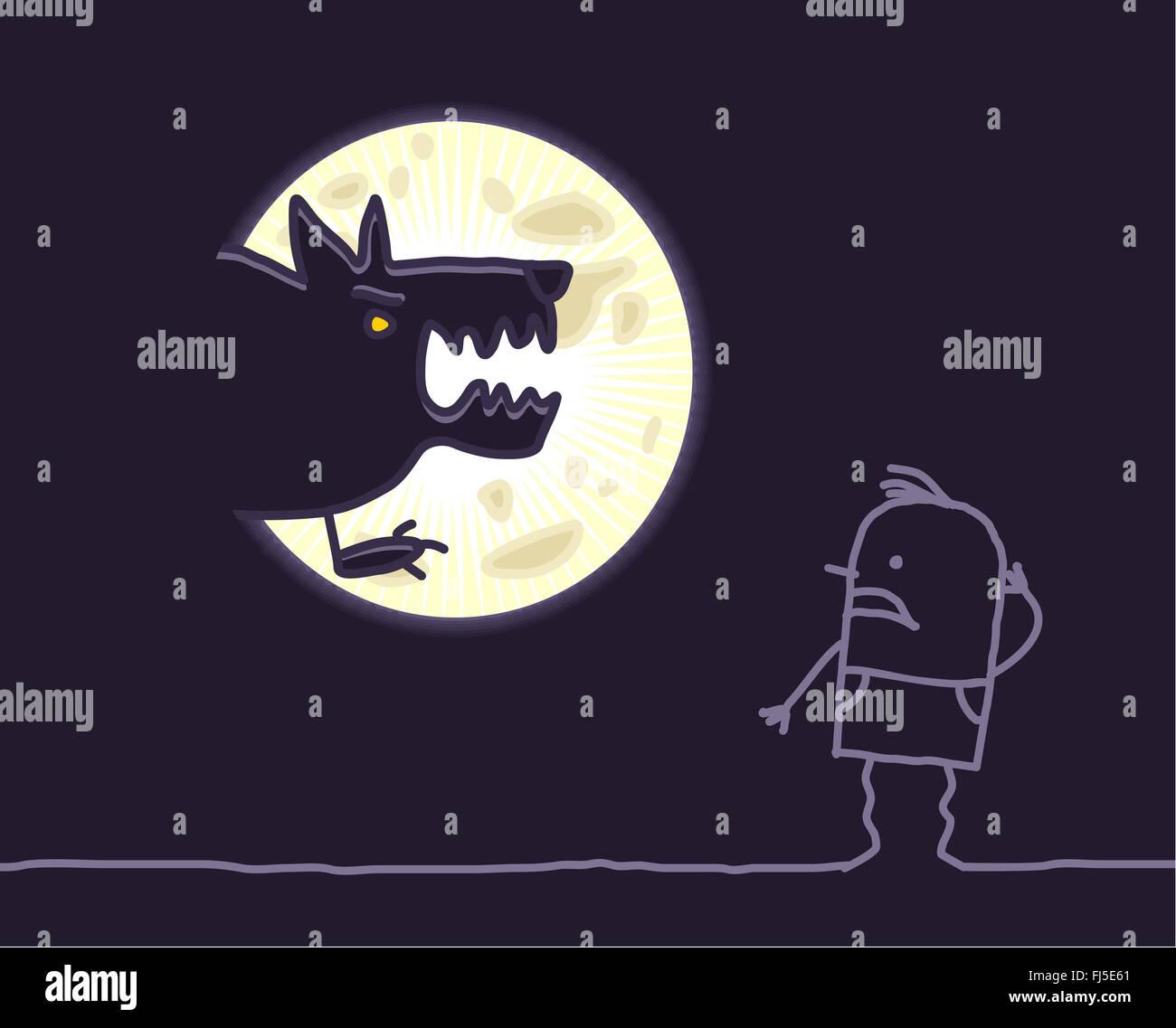 Los Personajes De Dibujos Animados Dibujados A Mano Lobo Y Luna