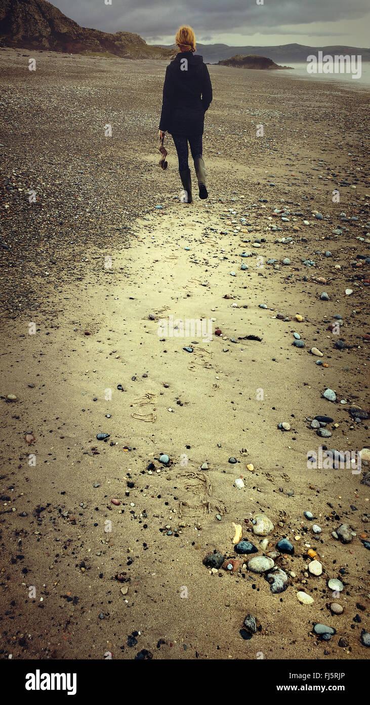 Mujer en la distancia caminando a la playa la celebración de madera de deriva Imagen De Stock