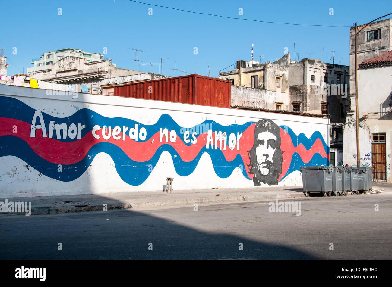Amor cuerdo no es amor, dibujando La Habana - Cuba Imagen De Stock