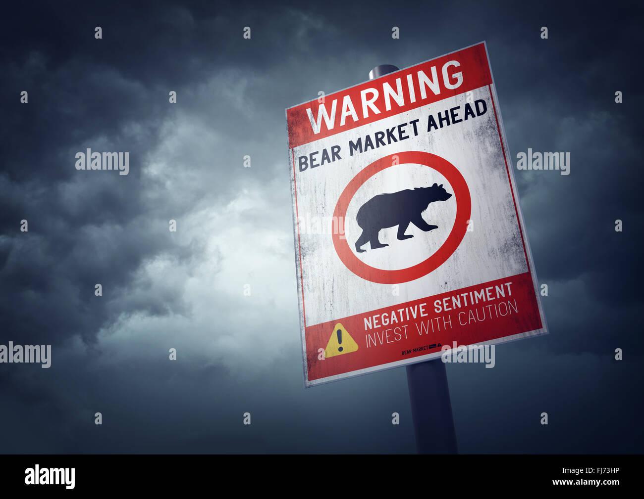Bolsa oso señal de advertencia con crecientes nubes de tormenta. Foto de stock